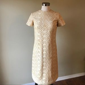 Vintage 60s Cream Crochet Lace Shift Dress